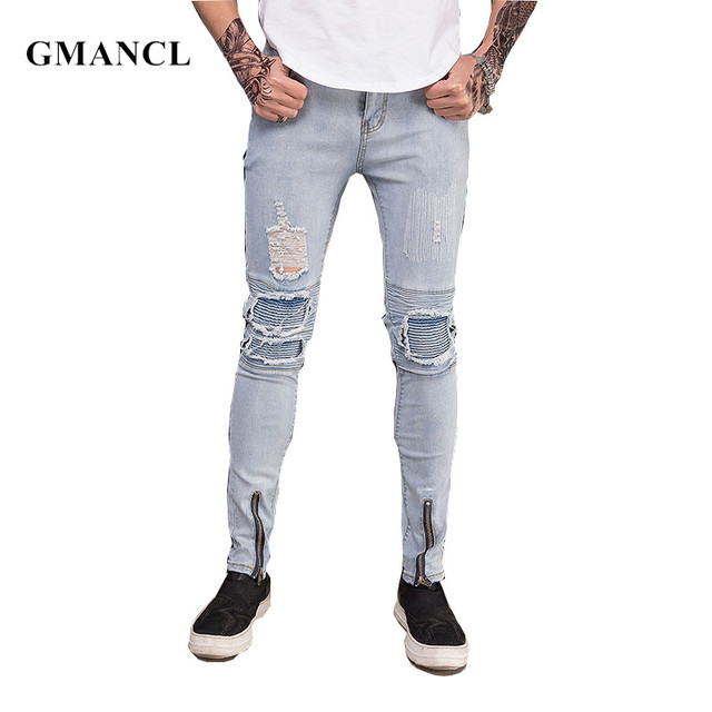 0074d407 US $20.62 45% OFF|GMANCL 2018 Streetwear Skinny Ripped Pleated Jeans Men  Brand Fashion Distressed Joggers Slim Holes Washed Denim biker Jeans-in  Jeans ...