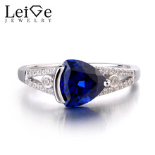 Leige Jewelry Lab Blue Sapphire Solid 925 Sterling Silver Ring Gemstone font b September b font