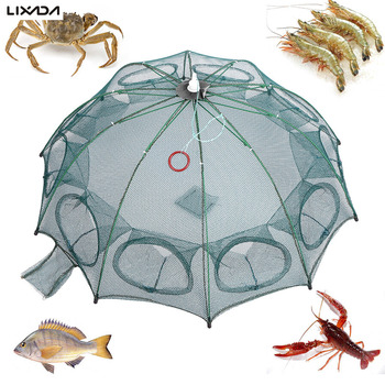 Lixada 4/6/8/10 Hole Automatic Fishing Net Fishing Trap Portable Folding crayfish catcher Mesh Trap Cage with Ring for Pesca