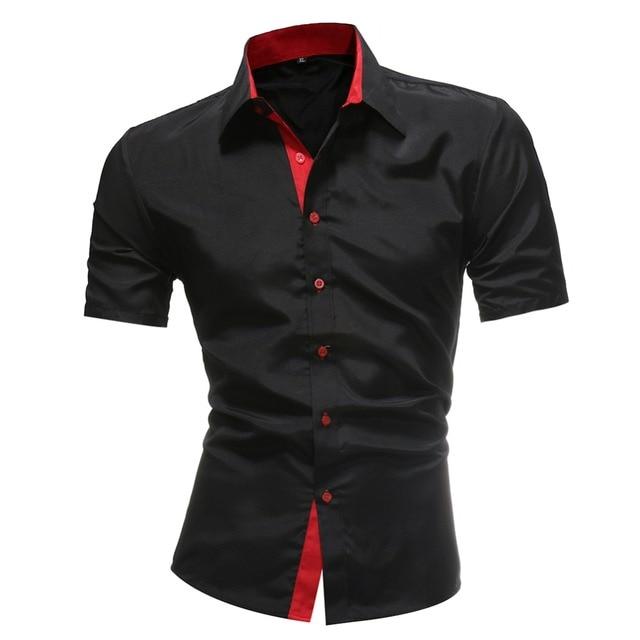 2018 Camisas Dos Homens de Negócios Clássico Casuais calças de Brim Dos Homens de cor Sólida Camisa Nova Camisa Blusa de Manga curta Casual Slim Fit Masculino