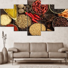 Canvas Painting Framework 5 Pieces Printing Food Painting Herbs and Spices  Poster Home Decorative Modern Living Room Or Bedroom все цены