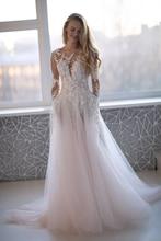 Illusion Long Sleeves Wedding Dress 2019 Vestidos de novia Lace Appliqued A Line Bridal Gown Buttons Back Wedding Gowns