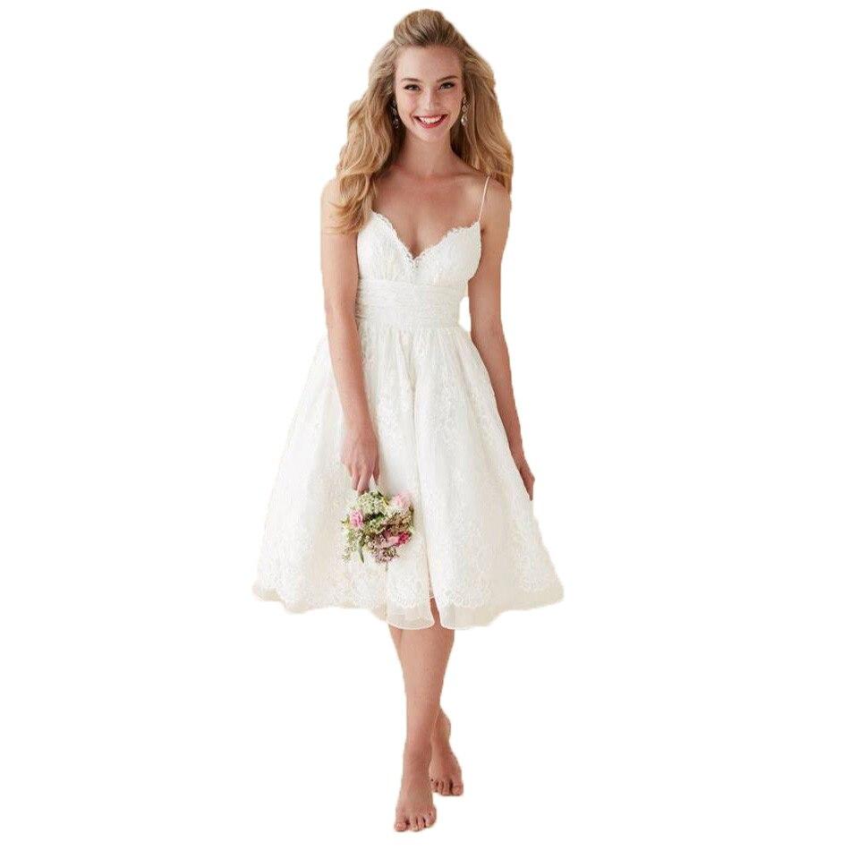 Ivory Greek Goddess 2017 Ivory Bohemia Wedding Dresses: 2017 Bohemian Ivory Short Wedding Dress Lace Spaghetti