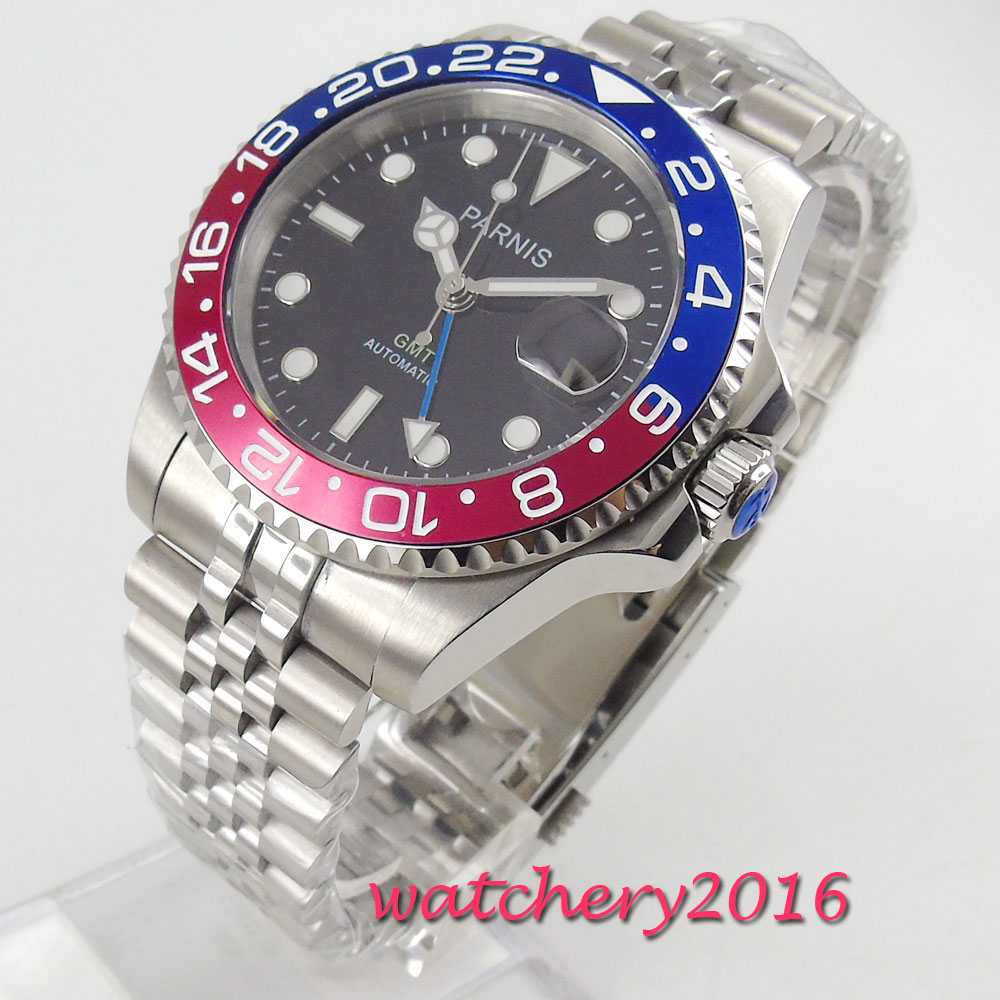 40mm PARNIS Mechanical Watches rotating Blue Red Bezel black dial GMT luminous mark sapphire glass automatic movement Mens Watch40mm PARNIS Mechanical Watches rotating Blue Red Bezel black dial GMT luminous mark sapphire glass automatic movement Mens Watch