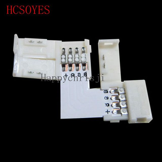 10 set  L Shape LED Connector 2 pin/3 pin/4 pin solderless For 8mm/10mm 5050/3528/ws2811/ws2812b/5630/5730 smd LED Strip