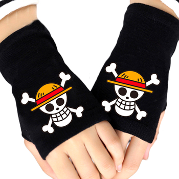 Fashion Boy Knitted Gloves One Piece Pirates Whitebeard Monkey Luffy Law Skull Fingerless Cotton Glove Girl Cosplay Mittens Gift 2020 one piece mask monkey d luffy pirate cotton masks reusable washable skull cosplay masque