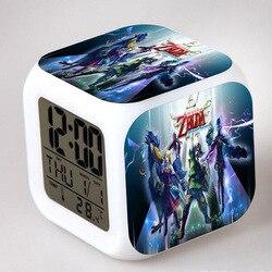 Zelda anime figura despertador led colorido flash toque luz pvc modelo meninos brinquedos festa de aniversário