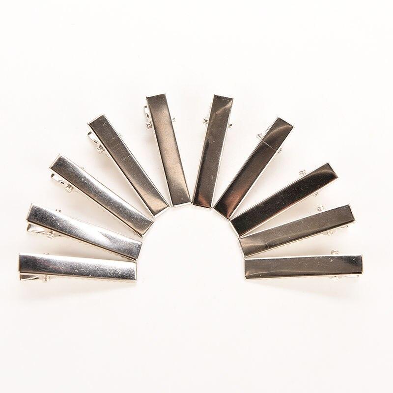 50 шт. гладить зажим для волос для укладки волос серебряный плоский металлический Одноместный зубец Аллигатор заколки
