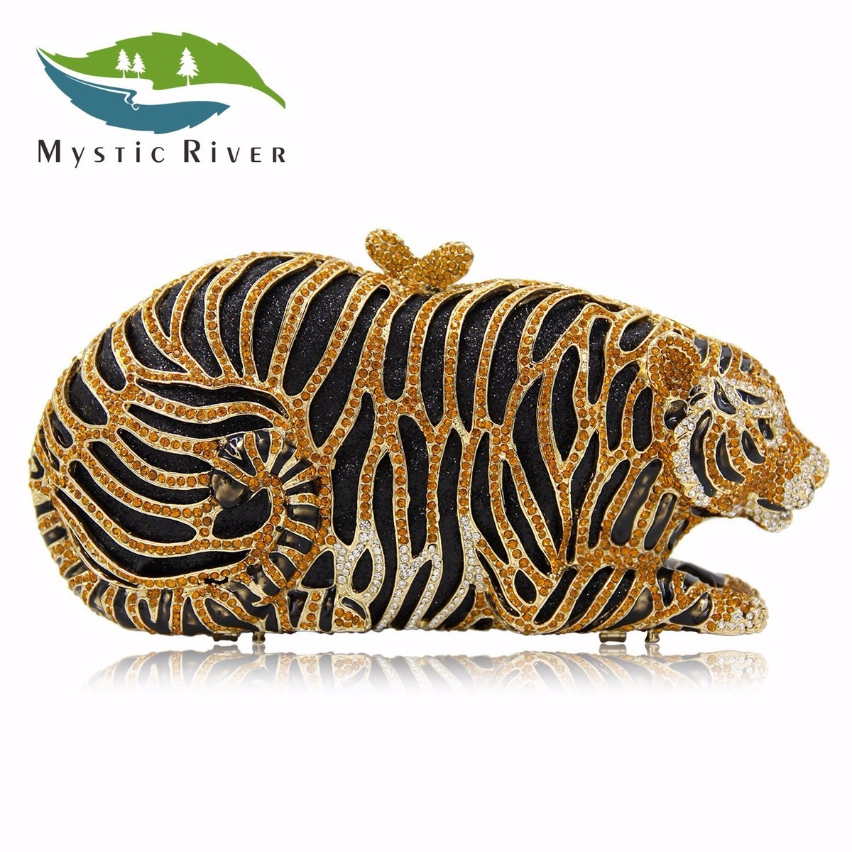 Mystic River Women Luxury Crystal Tiger Shape Evening Bags Boutique Wedding Clutches Party Purses Suede With Shoulder Chain  mystic river designer pearl bags circle shape beaded clutches women wedding bag with chain lady evening clutch purse