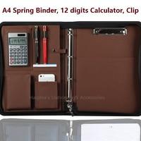 A4 Zipper Leather Portfilio With Calculator Handle Clip Spring Binder Manager Document Bag Business File Folder