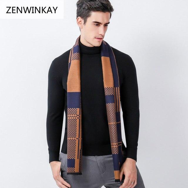 2018 moda masculina Otoño Invierno bufanda hombres lana Plaid Bandana  Cachemira bufanda hombre bufanda cálida pashmina b36f9aa4a8e