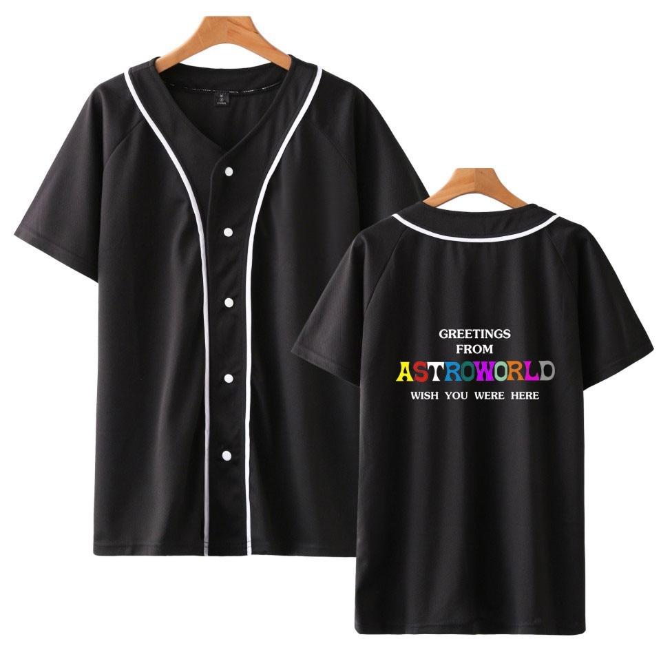 Kpop LUCKYFRIDAYF Travis Scotts ASTROWORLD Berretto Da Baseball di Estate della Molla T-Shirt Donne/Uomini 2018 Vendita Calda Fredda Cappotti Vestiti di Baseball