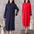 Красный Старинные Платья Женщин С Длинным Рукавом Cheongsam Платья Vestidos Robe Longue Vetement Femme Ретро Случайные Свободные Ropa Mujer