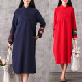 Red Vintage Dress Women Long Sleeve Cheongsam Dresses Vestidos Robe Longue Femme Retro Vetement Casual Loose Ropa Mujer