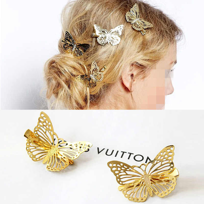 Elegant Fashion Korean Version Of The Hollow Gold Left And Right Butterfly Female Hairpin Side Clip Headwear Hair Accessories