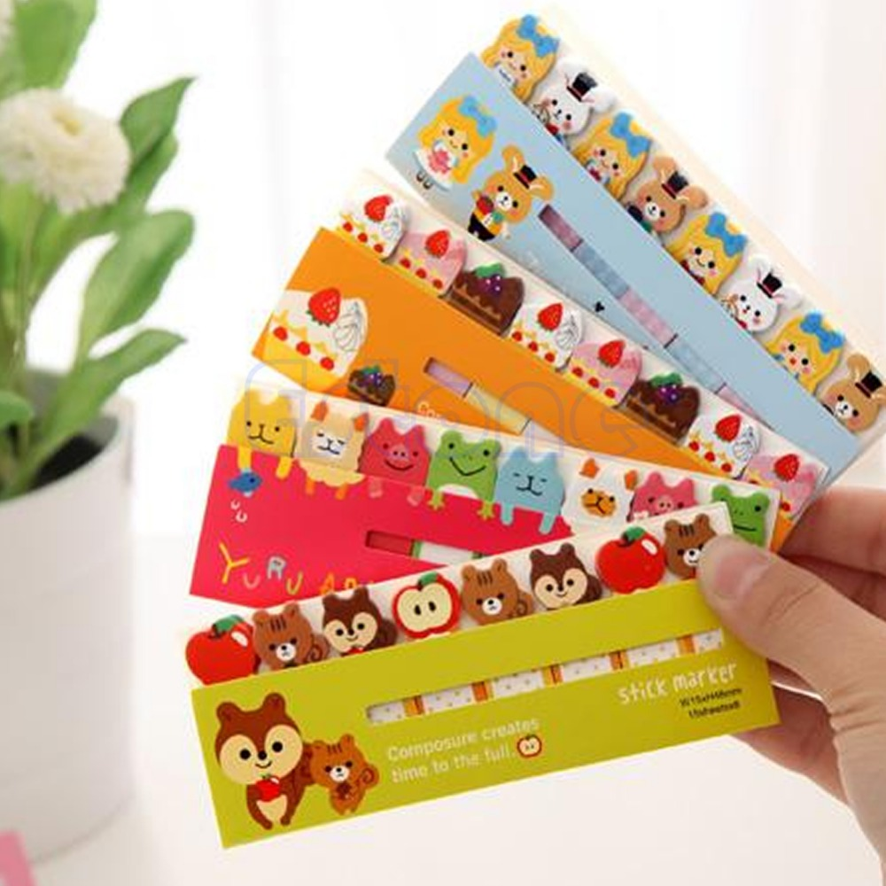 Cute Funny 120 Pages Sticker Post It Bookmark Marker Memo Flags Tab Index Sticky Notes animal cartoon D14