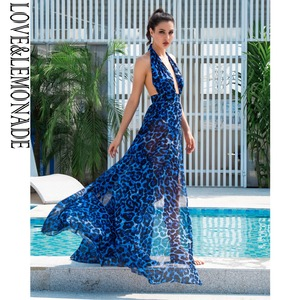 Image 4 - אהבה & לימונדה סקסי כחול צווארון V לפתוח בחזרה לגזור נמר שיפון ארוך שמלת LM81049