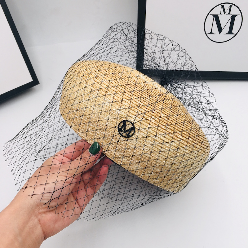 Fashion straw M bud hat female simple versatile hat painter hat Japanese gauze goddess hat tide ins show small face