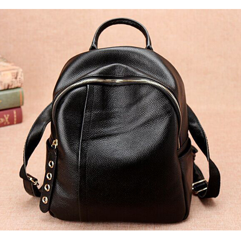 2017 FASHION Genuine Leather Backpack Vintage College School Backpack for Teenage Girl Women's Natural Real Leather Schoolbag цена