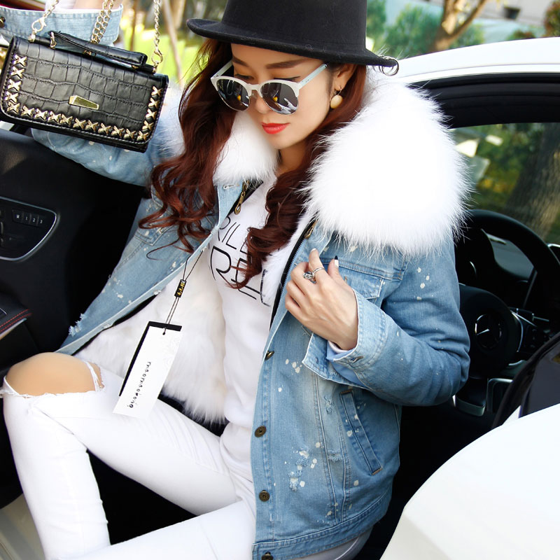 Korean Natural Real Large Raccoon Fur Collar Women Winter Coat Jacket Denim Thick Short Jeans Outwear Real Fox Fur Lining Parkas 2017 winter new clothes to overcome the coat of women in the long reed rabbit hair fur fur coat fox raccoon fur collar
