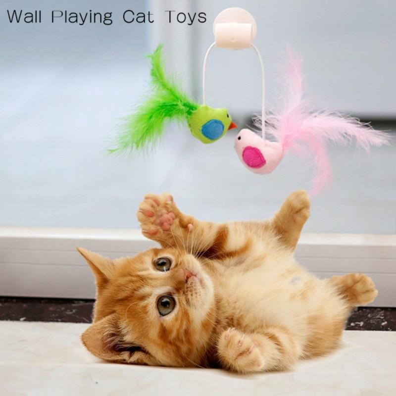 New Bird Feather Catnip Bell Toy Cat Glass Sucker Cat Toy Window Cat Toy, Sucker Cat Toys