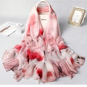 Image 4 - Real Zijden Sjaal Voor Vrouwen 2020 Nieuwe Mode Bloemenprint Sjaals En Wraps Dunne Lange Pashmina Dames Foulard Bandana Hijab sjaals