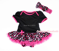 Valentine Toddler Black Bodysuit Hot Pink Heart Pettiskirt Baby Dress NB 12Month MAJSA0174