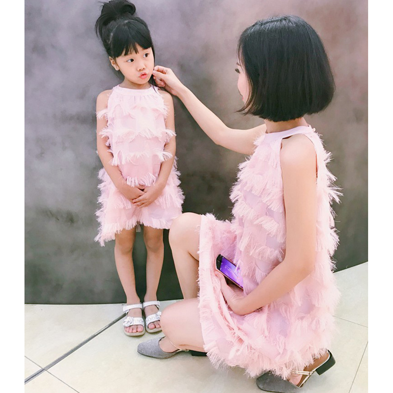 2018 Elegant Mother Daughter Dress Family Matching Outfits Women Pink Short Dress Summer Slim Mom Daughter Dress