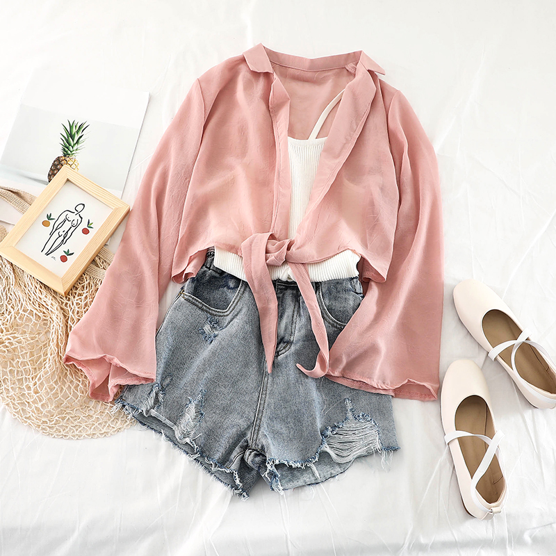 2019 new fashion women's blouse shirt Spring and summer chiffon cardigan straps short sunscreen H004