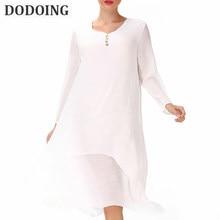 ad228207f3f (Ship from US) DODOING 2018 Summer Plus Size Dresses Women 4XL 5XL Loose Cotton  Linen Dress O-neck White Boho Shirt Dress Long Sleeve Maxi Robe
