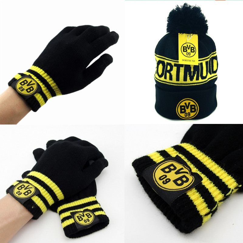 1set Borussia Dortmund Fans Gift Hat Snowboard Winter Ski Caps And Gloves Football Badge Hats For Men Woman Beanies For Bvb Badge Box Badge Providerhat Brooch Aliexpress