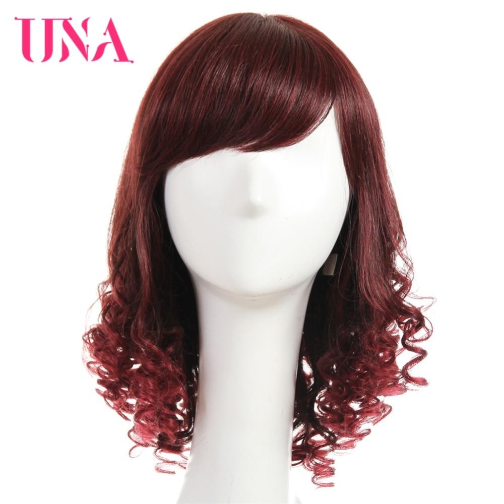 UNA Bouncy Bouclés Perruques de Cheveux Humains Cheveux Brésiliens Perruques Non-Dentelle Avant Perruques de Cheveux Humains Brésiliens Non-Remy cheveux 14 Mono Net À L'intérieur