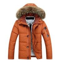 2017Male White Duck Down Long Jacket Autumn Winter Men Big Size Casual Windbreak Warm Outwear Parka Hooded Frock Coat