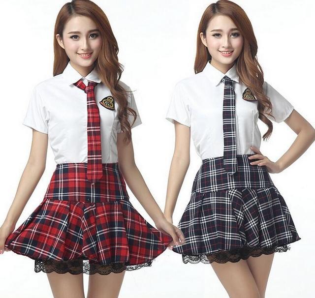 01416e1c1e9b0 Chica alta Colegio Uniformes para el colegio marinero camisa a cuadros  falda Cosplay traje