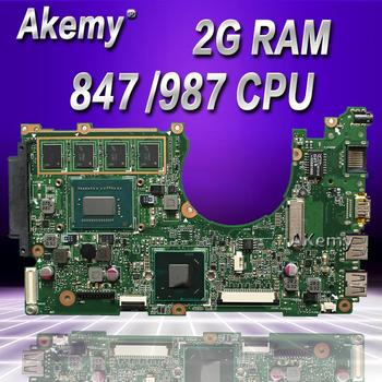 Akemy X202E Laptop motherboard for ASUS X202E X201E S200E X201EP Test original mainboard   2G RAM 847 /987 CPU