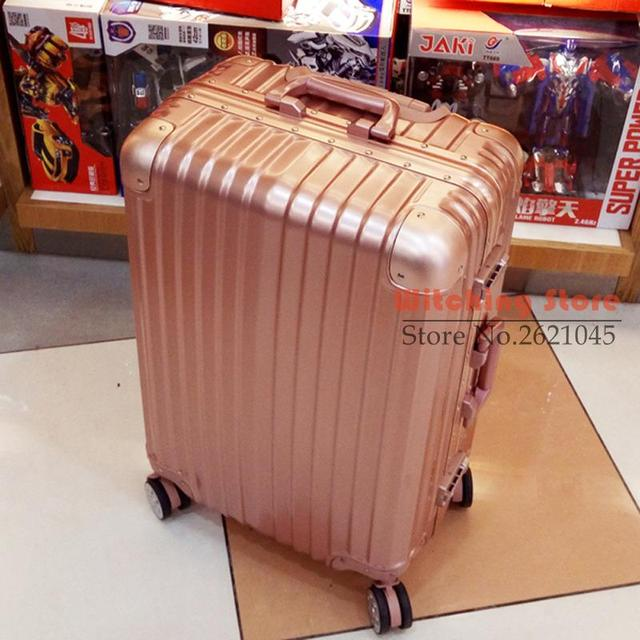 26 INCH  2022242629# Commercial luggage angle travel board case aluminum alloy frame rose gold draw bar box #EC FREE SHIPPING