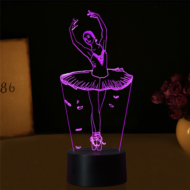 LAIDEYI 3D Illusion Lamp Ballet Girl LED USB 3D Night Lights 7 Colors Flashing Novelty LED Table Lamp Kids Bedside Decorations led 3d illusion acrylic lamp figure skating model nightlight touch switch 7 colors bedside table lamp
