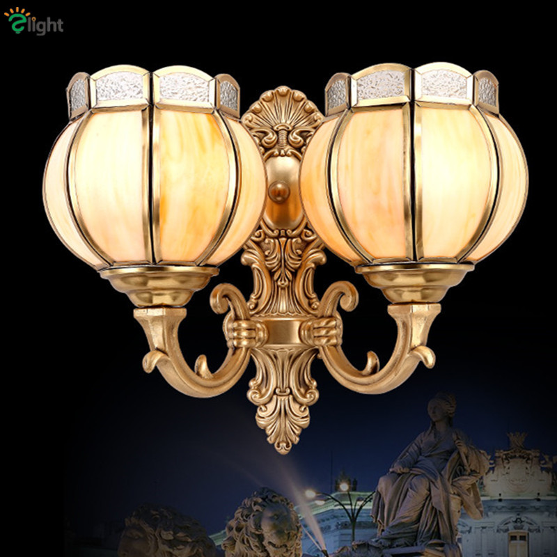 Europe Lustre Copper Led Wall Lights Fixtures Round Glass Bedroom Led Wall Lamp Luminaria Corridor Wall Light Foyer Wall Sconce europe retro lustre solid copper led wall lamp luminarias simple fabric shades bedroom led wall lights fixtures foyer wall light