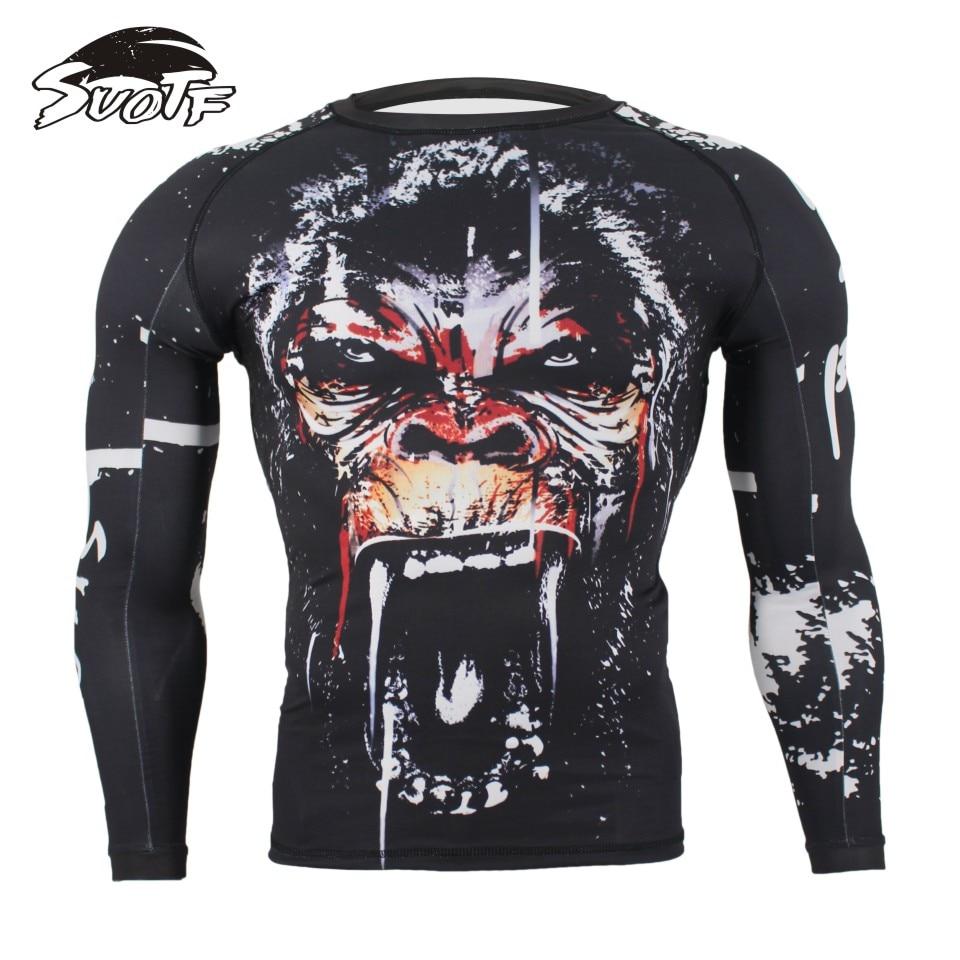 SUOTF MMA Fitness Tattoo Monkey Pattern Thai Boxing Sports Sweater Long Sleeve Boxing Jerseys Tiger Muay Thai Jerseys MMA