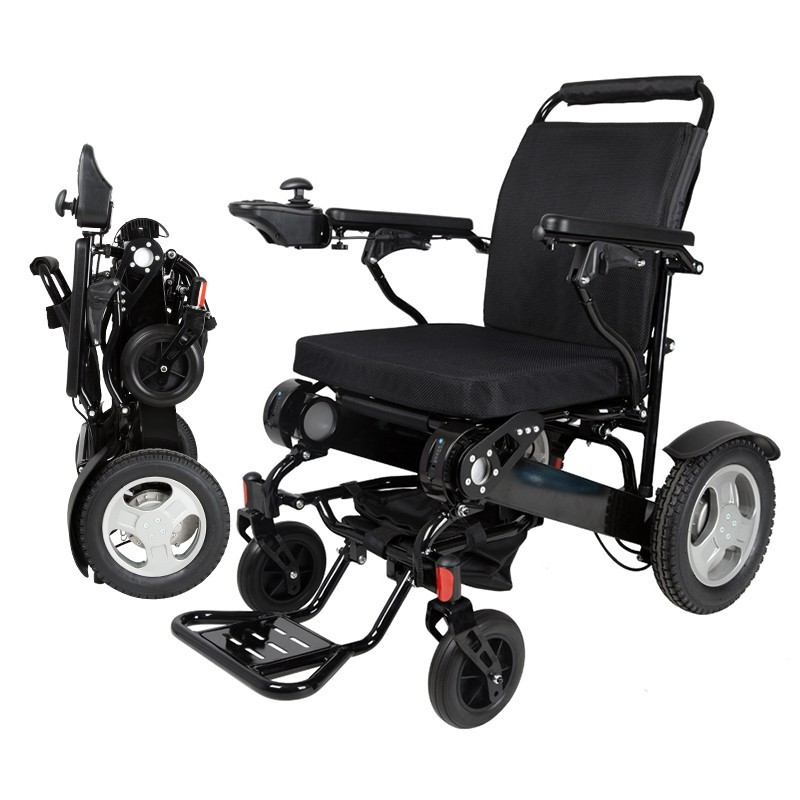 2018 Hot sell portable lightweight electric wheelchair for handicapped and elderly outdoor folding power motorized handicapped electric wheelchair