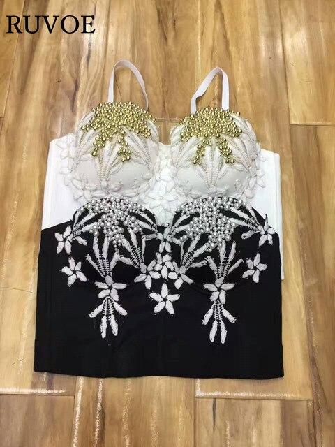 2017 New Hot handmade Sexy Women spaghetti strap Crystal Rhinestone Bustier  Embroidered Jeweled Pearl Bustier Bra 8eef065e48e6