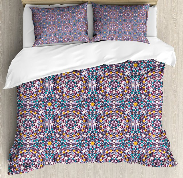 Duvet Cover Set Arabic Star Pattern Traditional Oriental Design Middle Eastern Culture Inspired 4 Piece