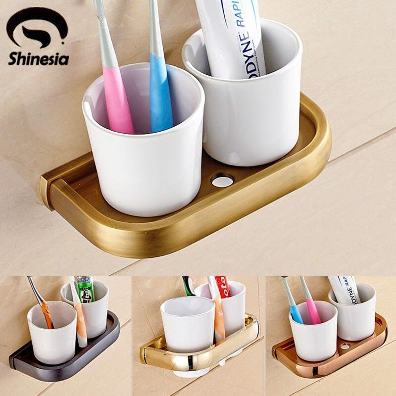 ФОТО Newly Euro Reteo Style Bathroom Toothbrush Holder Dual Ceramics Cups Solid Brass Base Wall-mounted