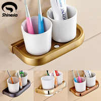 Newly Euro Reteo Style Bathroom Toothbrush Holder Dual Ceramics Cups Solid Brass Base Wall-mounted