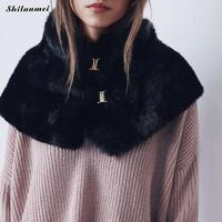 Women Scarf Winter 2017 Brand Luxury Knitted Female Rabbit Fur Scarf Collar Warm Neck Warmers Color Pompoms Leopard White Scarf