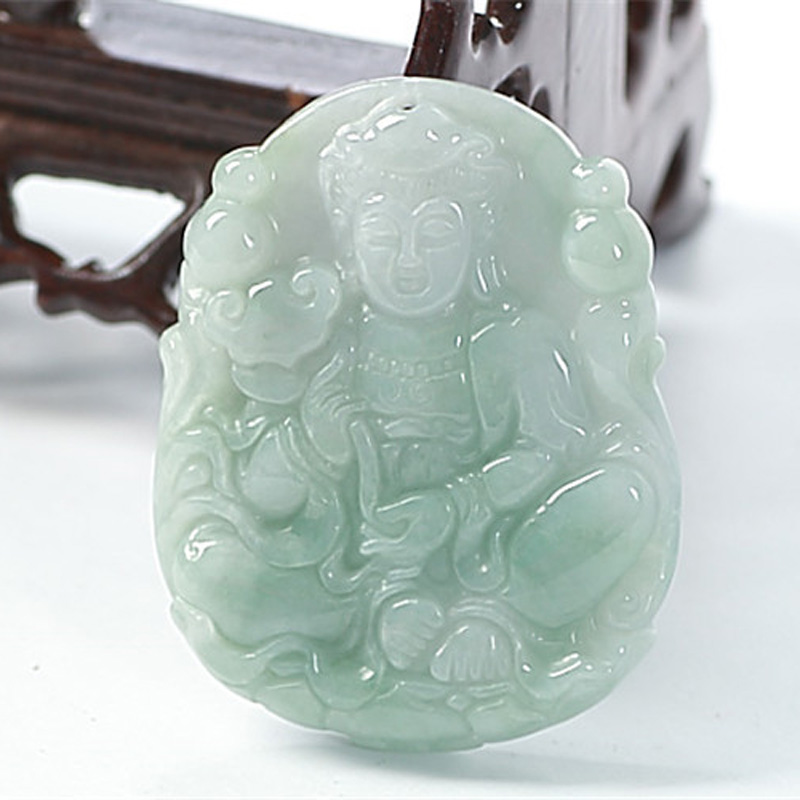 KYSZDL Natural Burma Emerald Guanyin Pendant Necklace hand carved Guanyin Pendant Jade Jewelry Gift Men free round bead ropeKYSZDL Natural Burma Emerald Guanyin Pendant Necklace hand carved Guanyin Pendant Jade Jewelry Gift Men free round bead rope