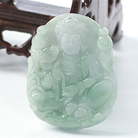 KYSZDL Natural Burma Emerald Guanyin Pendant Necklace hand carved Guanyin Pendant Jade Jewelry Gift Men free round bead rope