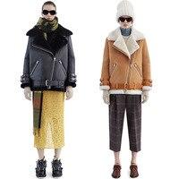 Women S Leather Vintage Suede Lambswool Short Jacket Coat Winter Warm Hairly Collar Leather Jacket Overcoat