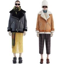Женская кожа Винтаж замши овечьей шерсти короткая куртка пальто Зима теплая hairly воротник кожаной куртки пальто