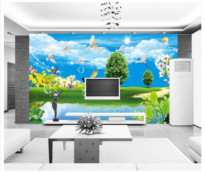 Customized 3d Wallpaper 3d Tv Wallpaper Murals Modern Sky Nature Landscape  Green Exterior Scene Graph Wall ... Part 97